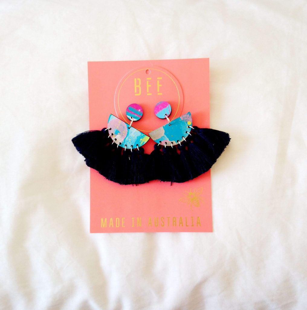 Navy tassel earrings