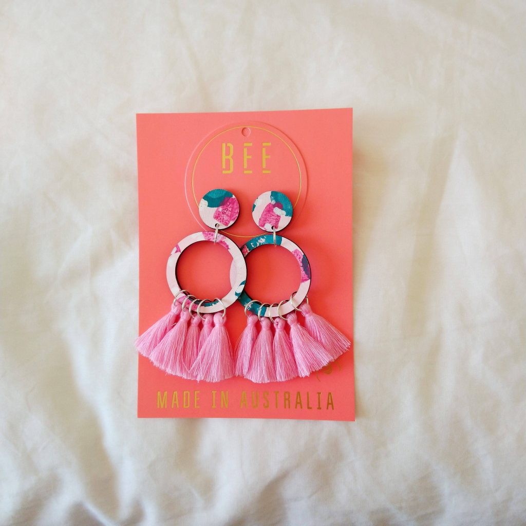 Pale pink and teal earrings