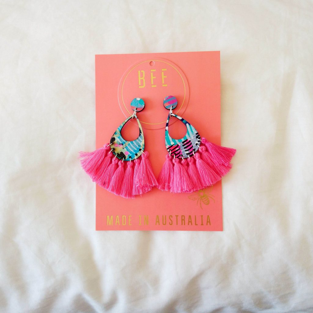 Aqua and pink earrings