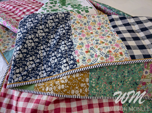 Quilt swirl showing the front and back of the binding.